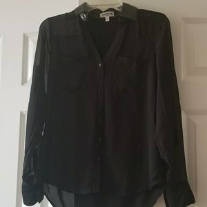 NWOT Sheer Black Portofino Shirt